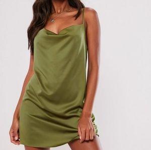 *NWT* MISSGUIDED Olive Green Satin Mini Dress